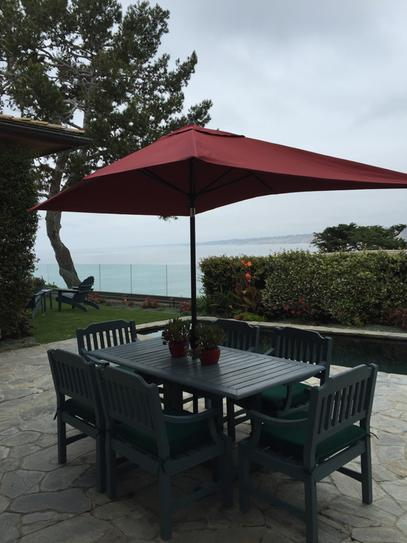 Hampton Bay 10 Ft. X 6 Ft. Aluminum Patio Umbrella In Chili With  Push Button Tilt 9106 01004011   The Home Depot