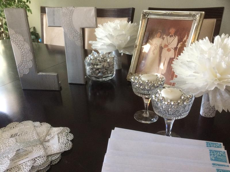our silver and white lace theme