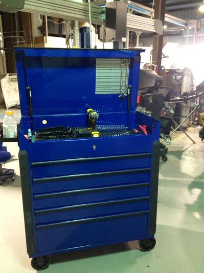 Large Heavy Duty Service Cart Sapphire Blue W Chrome Trim