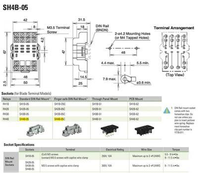 sh4b 05 idec relay socket panel screw 14 pins 10 a 300 v answer photo 1