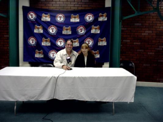 "Ranger Stadium Tour_my wife & I ""in press box"""