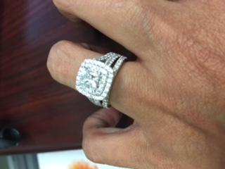 vera wang love collection 2 14 ct tw princess cut diamond frame split shank engagement ring in 14k white gold view all rings zales - Vera Wang Wedding Ring