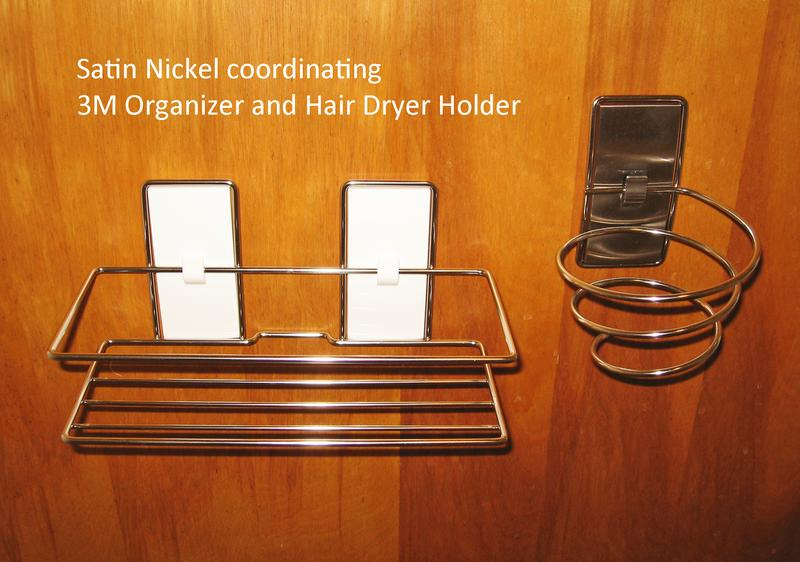 Charmant 3M Command Satin Nickel Finish Coordinating Organizer Shelf And Hair Dryer  Holder.