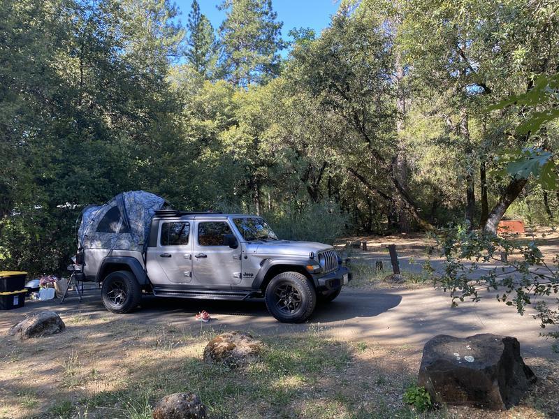 Base camp setup in Shasta Lake, CA