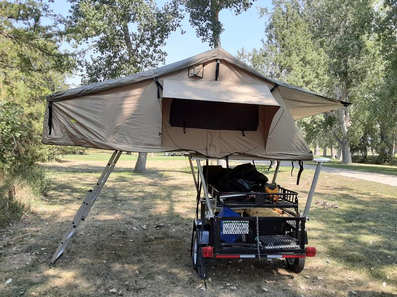 Installed tent on ladder rack and trailer.