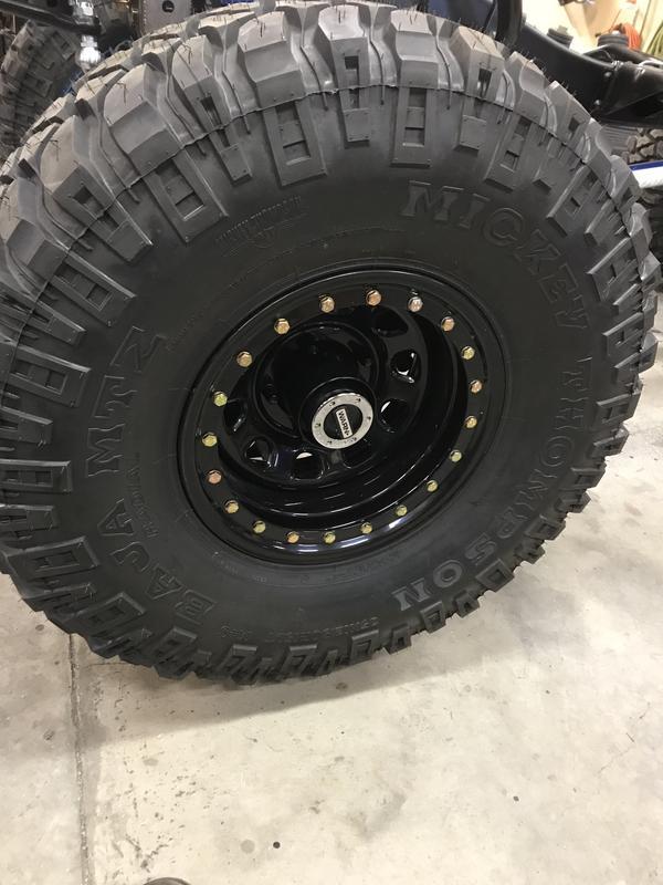 "Pro Comp 15x8"" wheels w/ Mickey Thompson MTZ 35/12.50/15 on 1974 Bronco."