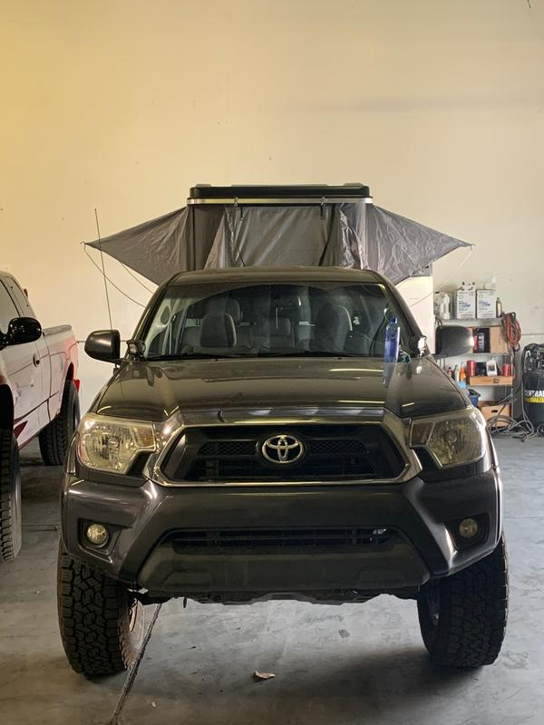 The tent is on a low profile bed rack