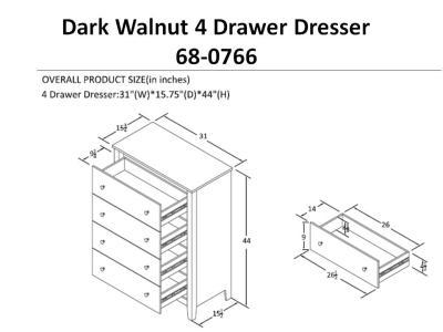 4 Drawer Dresser Black Forest