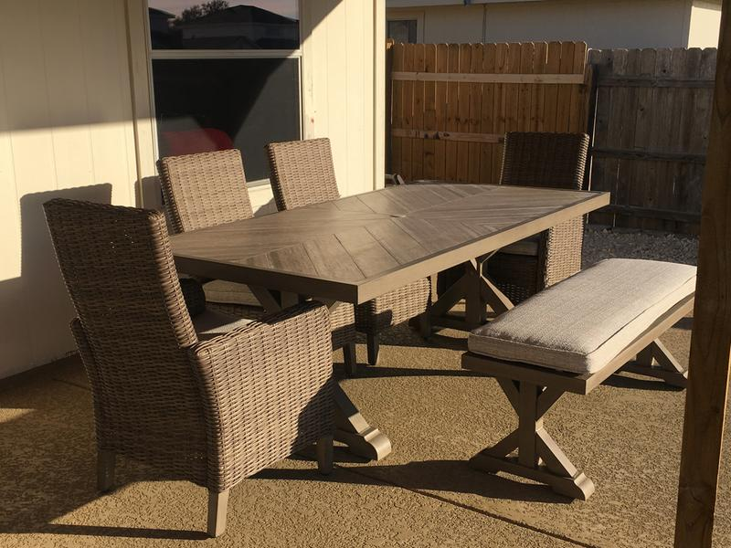 Ashley Beachcroft Dining Table Bench And Chairs 6 Pc Set Patio Sets Patio Garden Garage Shop The Exchange