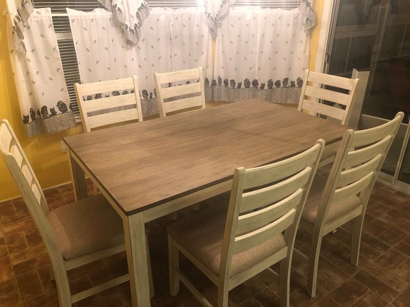 Fred Meyer Signature Design By Ashley Cohn Dining Room Set White Light Brown 7 Pc