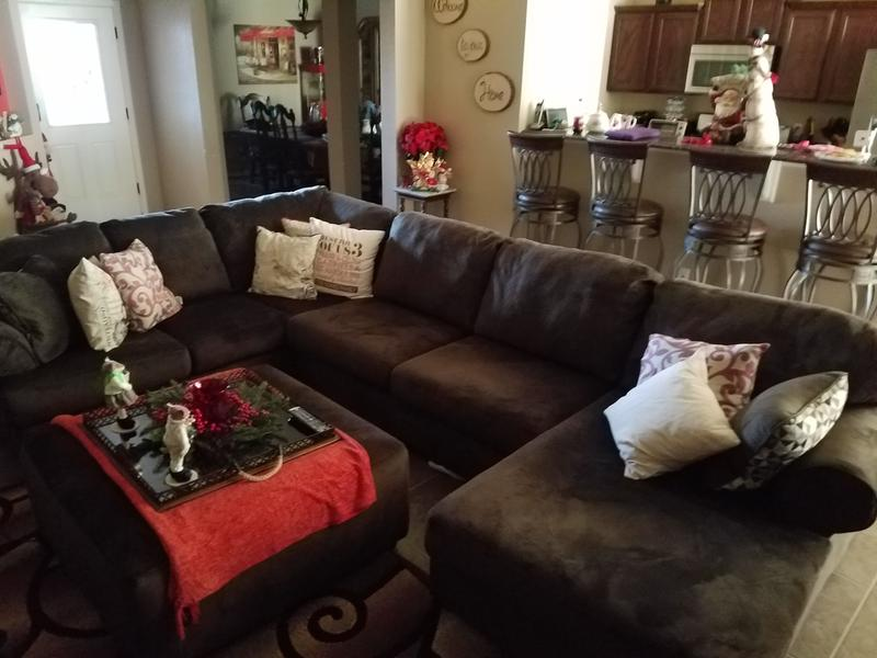 Add some throw pillows and get the Ottoman for a make shift coffee table : jessa place sectional dune - Sectionals, Sofas & Couches