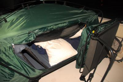 ... one tent cot set up in the cock pit of our boat and the other ready : cot tent combo - memphite.com