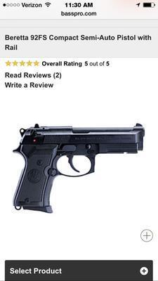 Beretta 92FS Compact Semi-Auto Pistol with Rail | Bass Pro Shops