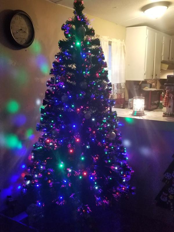 Purple Christmas Tree Lights.7ft Fiber Optic Artificial Christmas Pine Tree W 280 Lights Stand