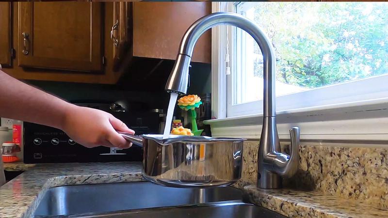 Flow Motion Sensor High Arc Kitchen Faucet Brushed Nickel Up7000bn Bio Bidet