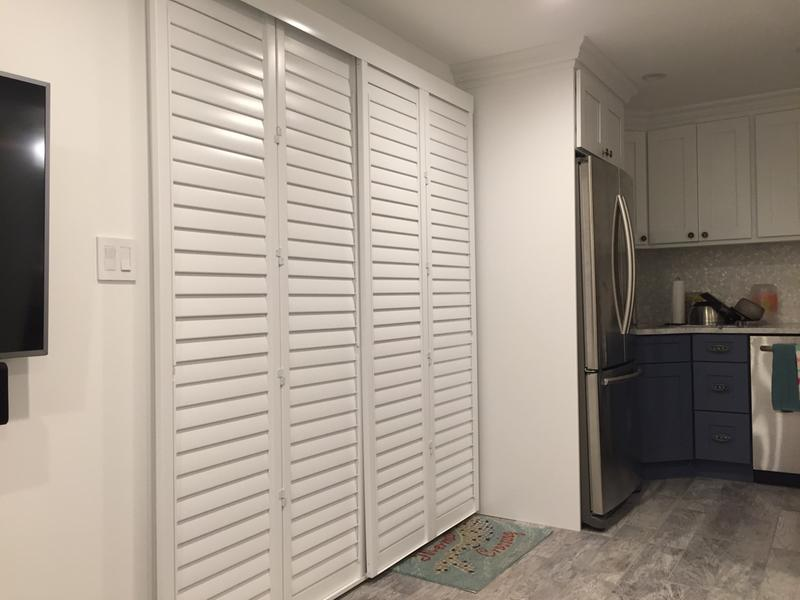 Sliding Front doors of our Beach Condo & Sliding Shutters | Track Fauxwood Shutter | Blinds.com Pezcame.Com