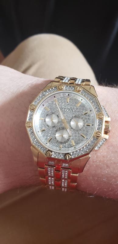 Bulova Octava Men's Gold Pavé Dial Crystal Watch | Bulova