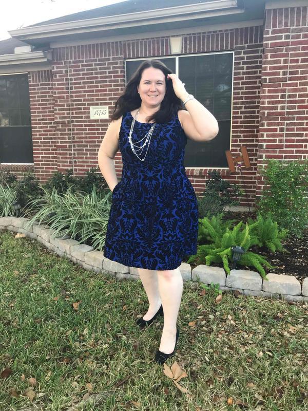 Velvet Flocked Damask Fit And Flare Dress Gabby Skye Gwynnie Bee