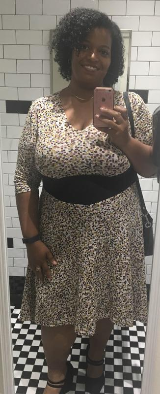 a80b81daf02 The dress was true to size and the black panel is very slimming. I loved it