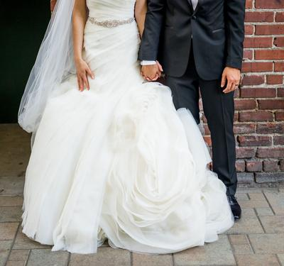 b24fab6bdb1f White by Vera Wang Bias-Tier Trumpet Wedding Dress | David's Bridal
