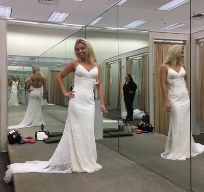 Soft Lace Sheath Wedding Dress with Low Back | David\'s Bridal