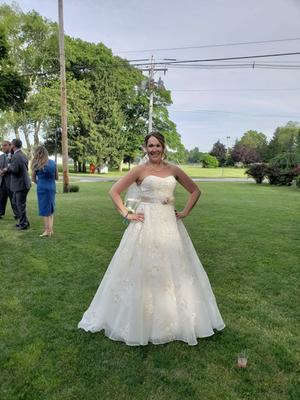 Oleg Cassini Organza Veiled Lace Wedding Dress | David\'s Bridal