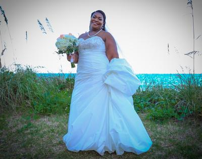 Taffeta Trumpet Plus Size Wedding Dress with Beads | David\'s Bridal