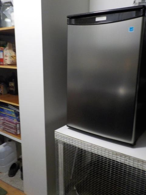 our new danby compact fridge on our homemade stand dog crate - Danby Mini Fridge