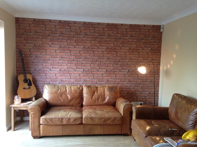 Red Brick Wallpaper Living Room Ideas Nakicphotography