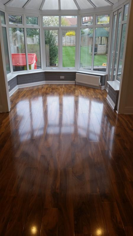 Colours Dolce Walnut Effect High Gloss Laminate Flooring Reviews B Q Designs