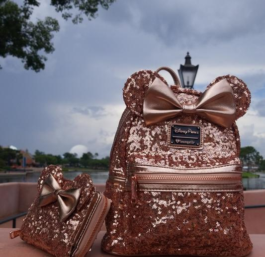 3e6b6410229 Minnie Mouse Sequined Mini Backpack by Loungefly - Rose Gold ...