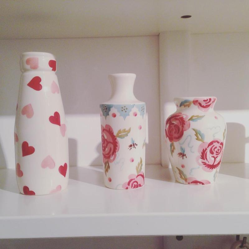 "Pink Hearts"" Pink Mix Set of 3 Vases at Emma Bridgewater"