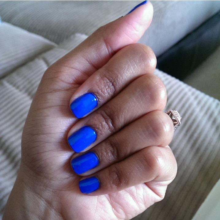 butler please - bright blue gel nail polish & color - essie salon gel