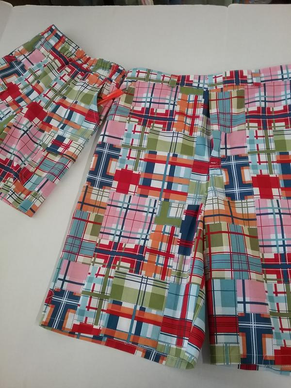 Multicolor Michael Miller Shore Thing Madras Patch Seaside Multi Fabric by The Yard