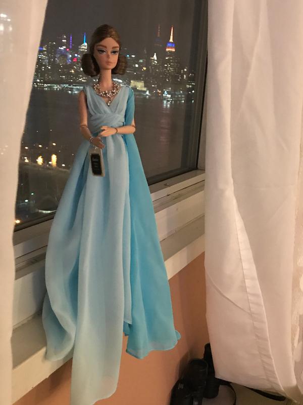 Barbie Fashion Model Collection Blue Chiffon Ball Gown Barbie Doll ...