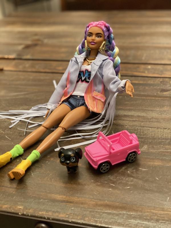 2020 Mattel Barbie Extra Doll #5 In Long-Fringe Denim Jacket /& Puppy *Ships Now*
