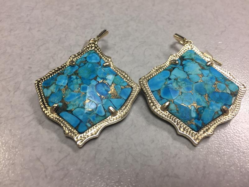 Kirsten Drop Earrings In Bronze Veined Turquoise Stunning