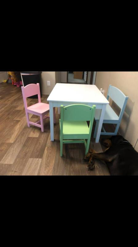 Kidkraft Nantucket Table With Bench Amp 2 Chairs Pastel