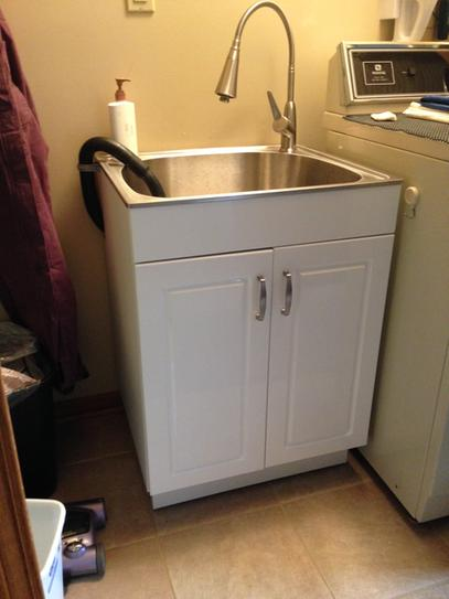 Glacier Bay All In One 24 2 X 21 3 33 8 Stainless Steel Laundry Sink With Faucet And Storage Cabinet Ql033 At The Home Depot Mobile