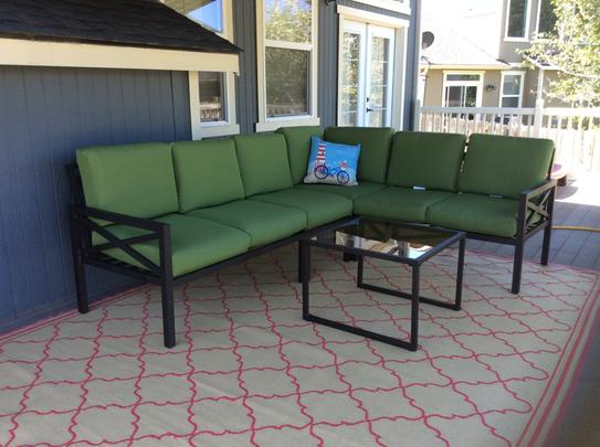 Leisure Made Blakely Black 5 Piece Aluminum Outdoor Sectional With Red  Cushions 502987 RED   The Home Depot