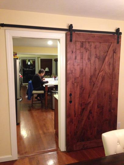 zbar knotty alder wood interior barn door slab with sliding door hardware kit47613 the home depot