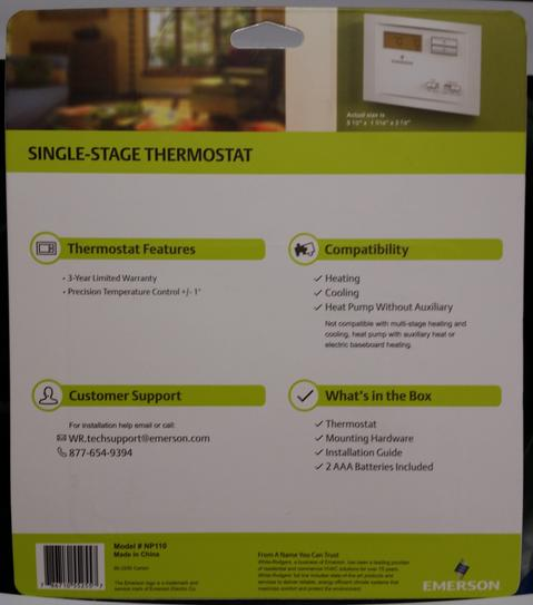 Emerson Single Stage Non-Programmable Thermostat NP110 at