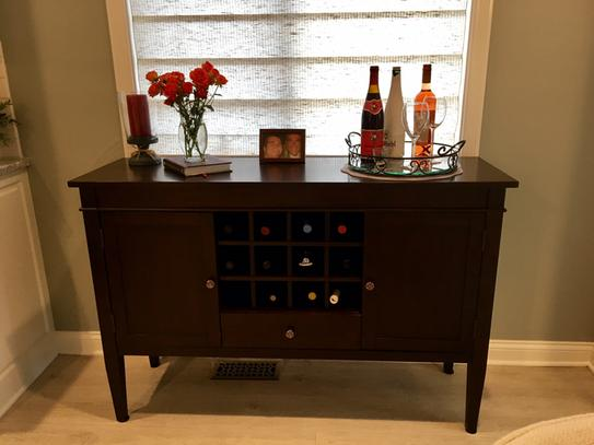 Simpli Home Carlton Solid Wood 54 In Wide Contemporary Sideboard Buffet Credenza And Wine Rack In Tobacco Brown 3axccrl 09 The Home Depot