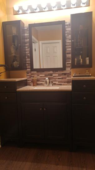 Glacier Bay Modular 30.5 in. W Bathroom Vanity in Java with Solid Surface Vanity Top in Cappuccino with White Basin PPDEC30-JVM at The Home Depot - Mobile