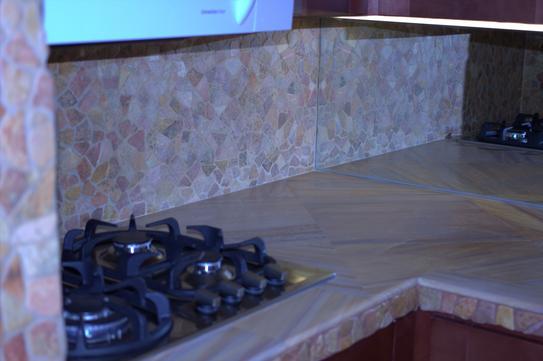 Kitchen counter-top in rainbow sandstone