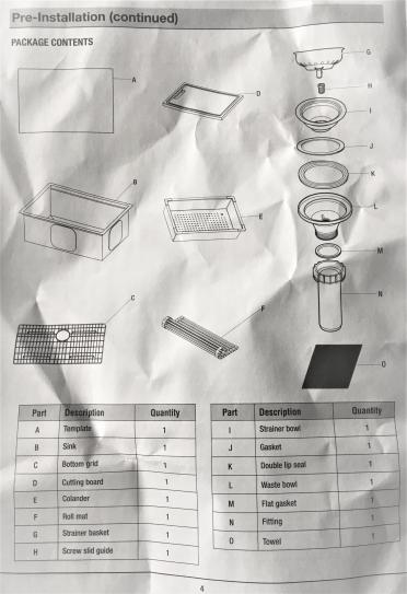 items included with sink