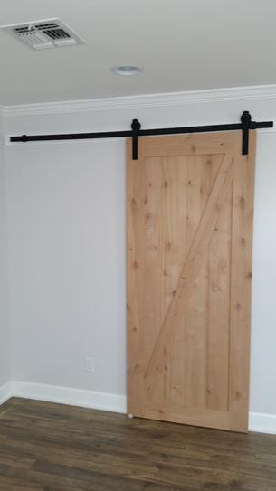 Z Bar Knotty Alder Wood Interior Barn Door Slab With Sliding Door Hardware  Kit 47606 At The Home Depot   Mobile