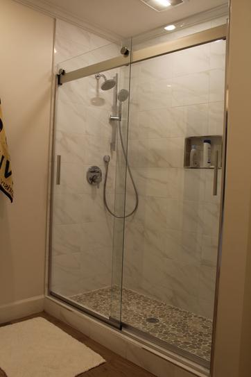 Kohler Levity 59 In X 74 Semi Frameless Sliding Shower Door Nickel With Handle K 706009 L Mx At The Home Depot Mobile