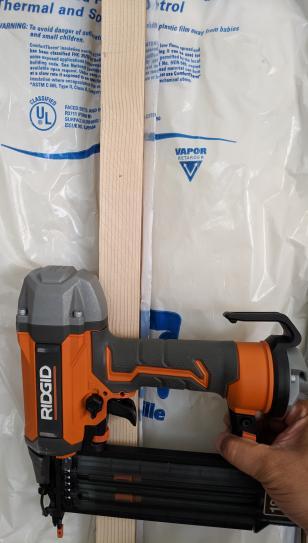 Firring strips nailed to 2x4 with Ridgid brad nailer