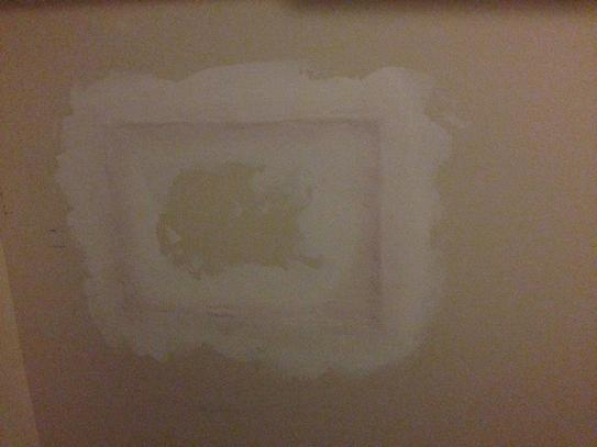 second coat of spackle, nearly dry